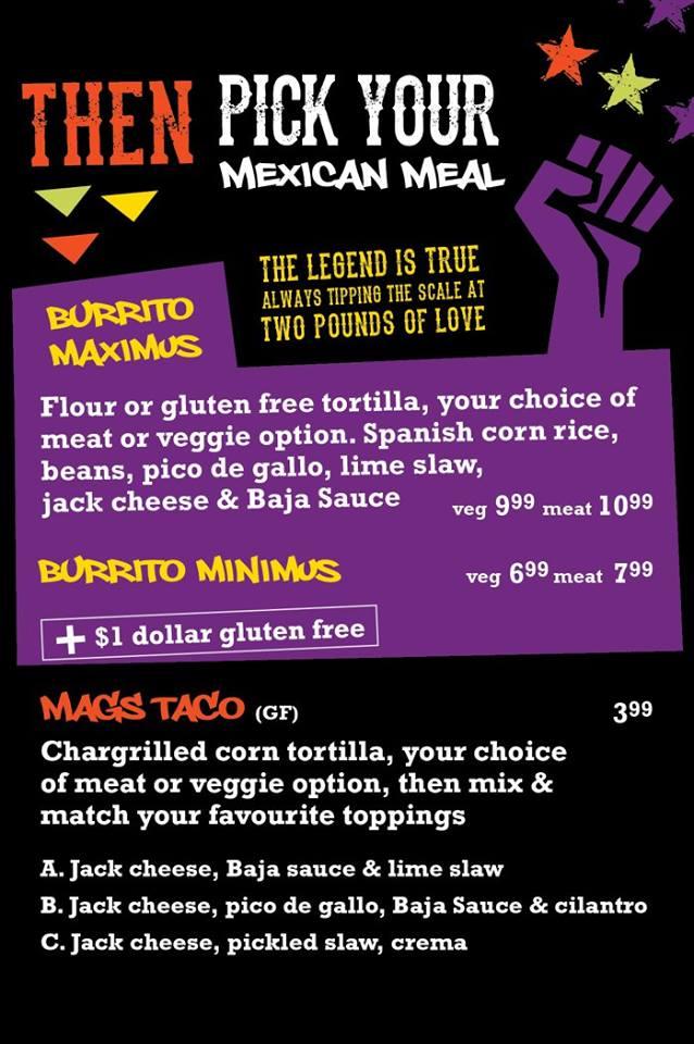 Burrito Menu